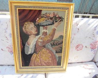 needlepoint picture, vintage, girl with basket of fruit, large needlepoint gold frame