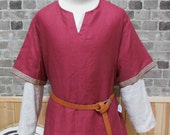 Historical Viking, Medieval linen tunic with Celtic knot trim - size XL - ships today!