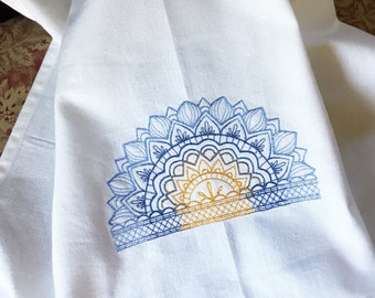 Mehndi henna sunset / sunrise design embroidered towel