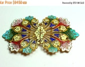 MOVING SALE Half Off Outstanding Antque Vintage Russian Champleve Enamel Buckle For Assemblage or Repair