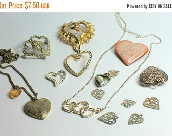 SPRING SALE Destash  Craft Lot of Vintage and Salvaged Heart Pendants  Charms and Jewelry Pieces