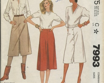 McCall's 7993 Long Sleeve Blouse Size 8-10-12 Retro 80s Vintage Sewing Pattern