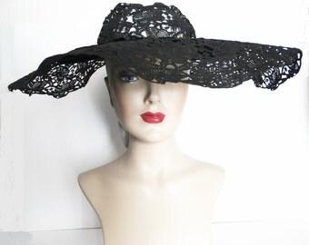 Vintage 1940s Hat   Black   Wide Brim Hat   Strouss Hirshberg Hat   40s Hat   Old Hollywood   Designer Hat