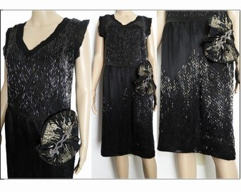 Vintage 1920s Dress | 20s Beaded Dress | Flapper Dress | Roaring 20s Dress  | Art Nouveau | Art Deco  | 20s Dress