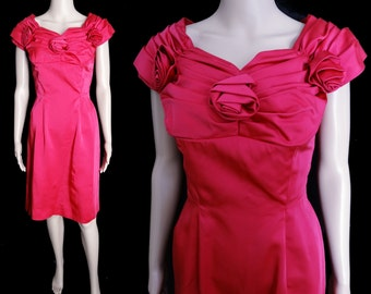 Vintage 1950s Dress//50s Dress// Magenta Pink//New Look//Mod//Wiggle//Cocktail Dress//Rockabilly