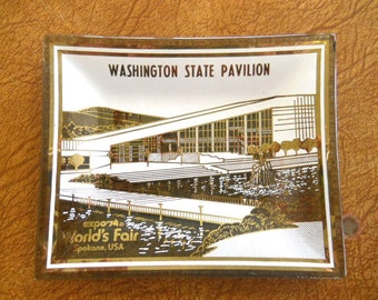 Expo 74 World's Fair Spokane WA - Souvenir Glass Dish - Washington State Pavilion