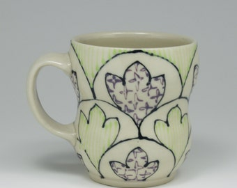 Coffee Mug - Handmade Ceramic Cup with Grey, Purple and Chartreuse Pattern