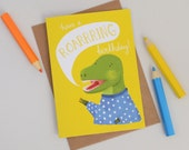 Birthday Dinosaur Card, Roarring T Rex Dinosaur Childrens Birthday Card, Kids Birthday Card, Cards for Kids, Quirky Greetings Cards