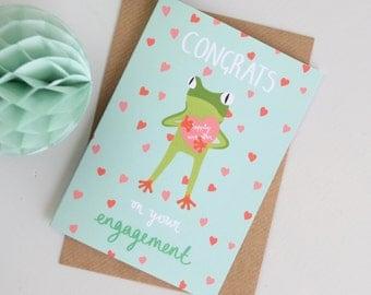 Engagement Card, Tropical Frog Congratulations Card, Wedding Card, Cards for Couples, Cards for Weddings, Cards for Engagement