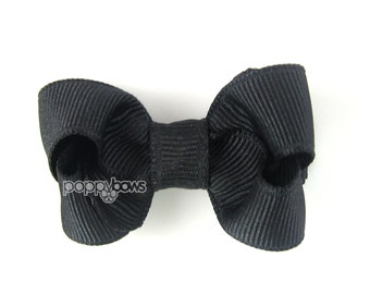 Small Hair Bow in Black - 2 Inch Solid Color Classic Boutique Hairbow for Baby Toddler No Slip Alligator Clip - for Baby Girls