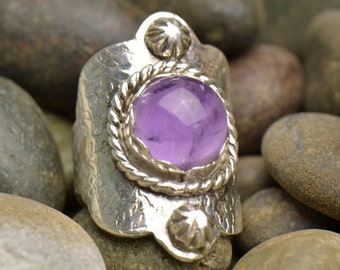 Purple Opal Amethyst Boho Style Ring Sterling Silver