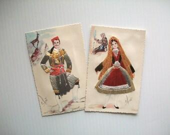 vintage art cards . vintage Grecian post cards with embroidery . vintage post cards . vintage textile art cards . vintage couple Greece card