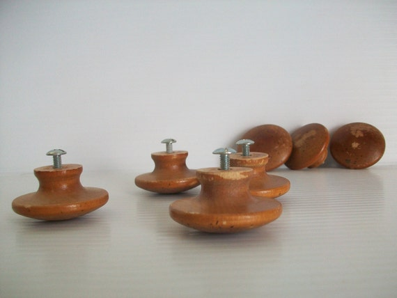 Lot Of 7 Natural Wooden Knobs Wooden Drawer Knobs Mushroom