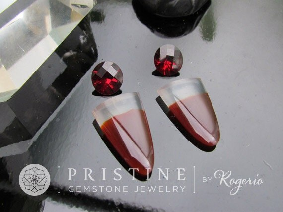 Unique Gemstones Agate Tongue Shape and Chekerboard Garnet for Jewelry Earrings