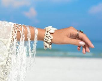 Beach Bracelet Boho Bracelet Beach Boho Bracelet Beaded Bracelet Shell Bracelet Beach Jewelry Boho Jewelry Wood Bracelet Jewelry