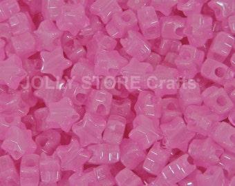 Stars Pink Glow in Dark Pony Beads 100pc for jewelry kandi party beading