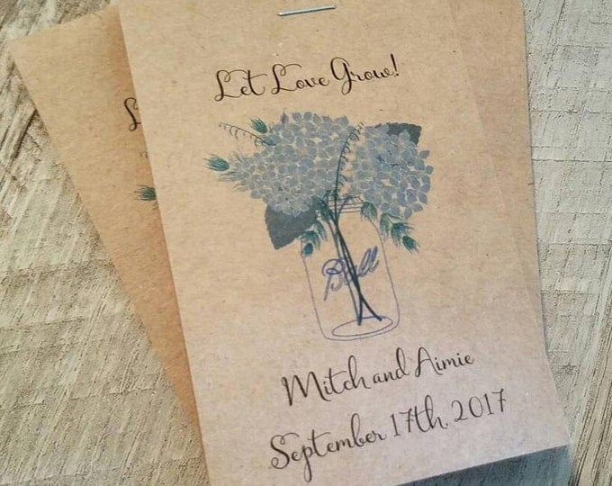 RUSTIC Blue Hydrangea Mason Jar Design - Seeds Let Love Grow Flower Seed Packet Favor Shabby Chic Cute Favors for Bridal Shower Wedding