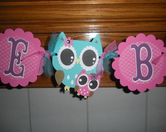 Mama Owl Baby Banner, Welcome Baby Banner, Mom and Baby Owl, Owl Baby Shower Banner, Tissue Poms are Available