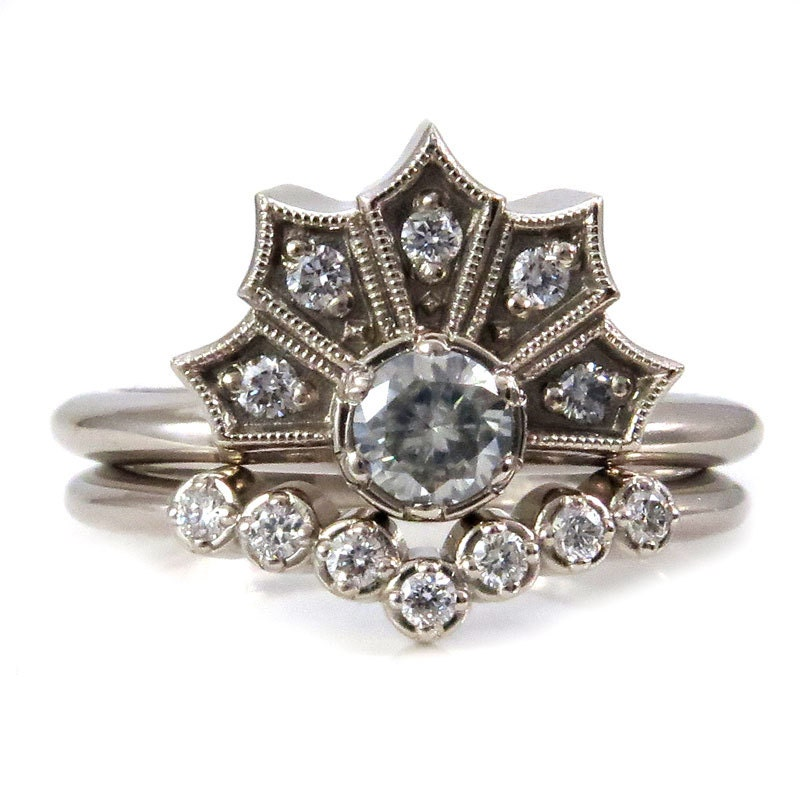 Modern Art Deco Engagement Ring Set Crown Ring With
