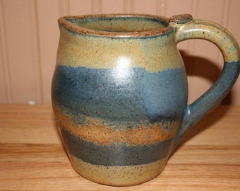 Handmade Pottery Pitcher, Earthy Blues and Yellow, Juice Pitcher, Drink Pitcher