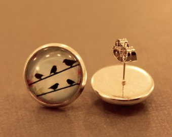 Birds on a Wire Studs: Birds Sitting on a Wire Glass Cabochons, Bird Jewelry, Bird Silhouette, Nature, Floral