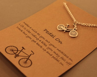 Bicycle Wish Necklace: Pedal on Bicycle Wish Necklace, Friendship Necklace. Best Friends, Wish Necklace, Wish Jewelry