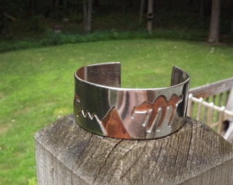 Handmade Nickel Copper Overlay Mountains Storm Rain Clouds Wide Cuff Bracelet
