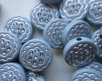 Grey and Silver Flat Coin Acrylic Beads 16mm 10 Beads