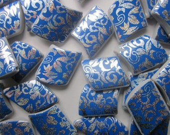 Blue and Silver Printed Acrylic Rhombus Beads 35x28x7mm 14 Beads