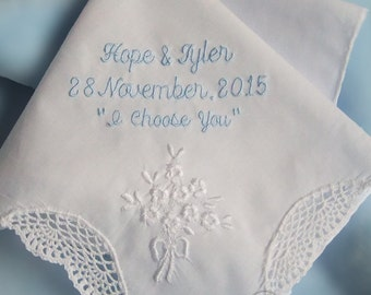 Something Blue Handkerchief for Bride Gift Personalized Wedding Hanky for Bride Embroidered Wedding Handkerchief