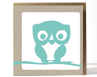 Owl, greeting card,  printed on beautiful sustainable paper, comes with a kraft envelope.