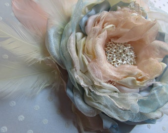 Fabric flower in blush ivory blue, Bridal flower hairpiece, Feather flower pin, Bridal Wedding accessory,