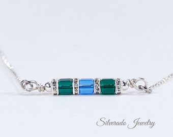 Mother's Birthstone necklace. Horizontal sideways pendant with 1-8 Swarovski crystals - Grandmother's Necklace: Mother's Day, New Mom, baby