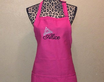Personalized Womens Kitchen Apron Princess Crown Queen Mother's Day