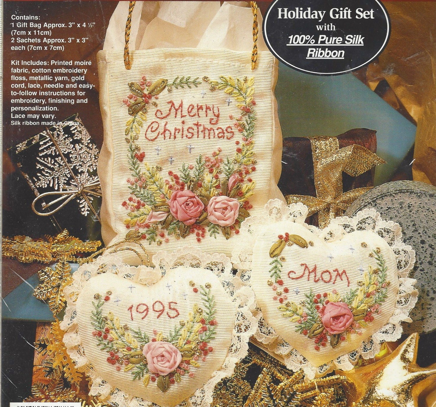 Jan Hagara Cross Stitch Patterns: 90s Merry Christmas Silk Ribbon Embroidery Kit Bucilla Holiday