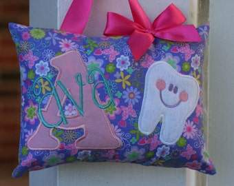 Chirstmas Gift for Kids Tooth Fairy Pillow Personalized Girls Keepsake Flowers Purple Pink Toothchart