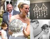 Bridal Earrings, Chandelier Wedding Earrings, Swarovski Pearl and Crystal Dangling Earrings, Victorian Style Filigree Earrings, ESTHER