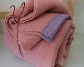 Wool Blanket Mauve Rose Lilac Binding
