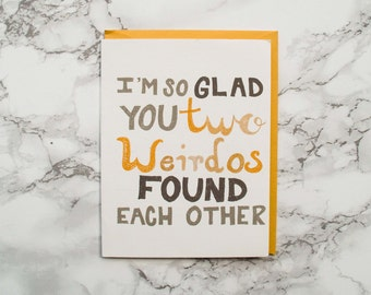 Eco Friendly Card. 100% Cotton Paper Card. Funny Wedding Shower Card. Congratulations Engagement Card.