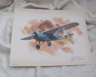 Vintage United Airlines Print Poster - Breese 5 Monoplane 1927 - Galloway