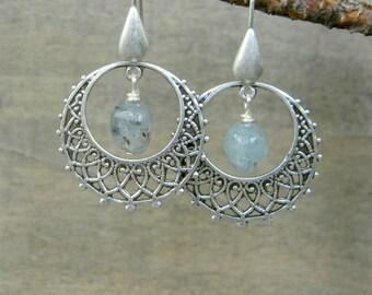 Hoop earrings filigree drop gemstone beaded jewelry kyanite earrings bohemian jewelry boho style bohemian earrings gypsy free spirit