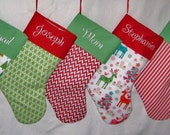 Personalized Christmas Stocking, 20 fabrics and 5 fonts to choose from