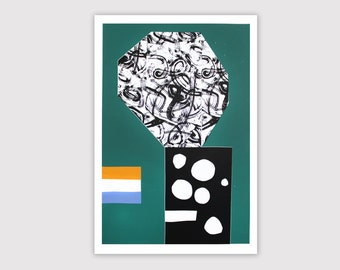 "Screenprint handmade original 40 X 60 cm green - ...  / ""Ville fleurie"""