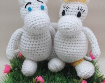 Crochet Amigurumi Snork Maiden and Moomintroll- Made to Order - Moomins