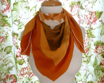 Beautiful Vintage Frankie Welch Silk Scarf With Roses In Tones Of Orange And Brown