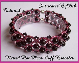 Tutorial Netted Flat Picot Cuff Bracelet - Jewelry Beading Pattern, Beadweaving Instructions, PDF, Do It Yourself, Download