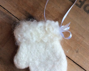 Needle Felted Wool White Winter Mitten White Curly Cuff Christmas Santa Ornament