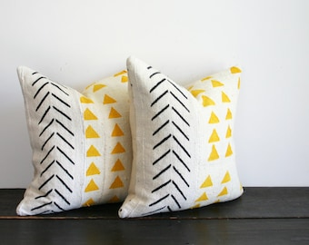 Modern Hand Painted Geometric Woven African Fabric Throw Pillow- Triangles