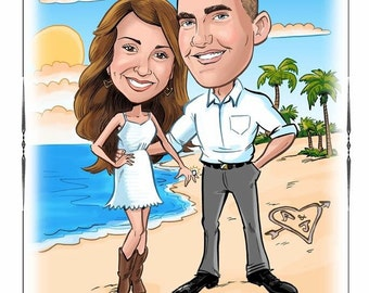 Unique caricature save-the-date, wedding invitation, portrait save the date magnets, wedding invitations