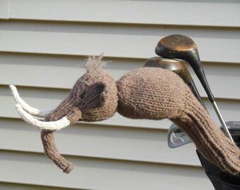 Wooly Mammoth Golf Club Cover, Knit Driver Cover, golf decor, golf gift, golf club head cover, father's day gift, gift for men, sports